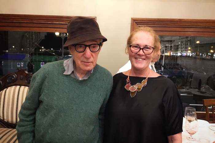 Woody Allen posó encantado para la foto con María Eugenia